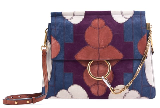 CHLOÉ Classic Tobacco Brown Multi-Color Patchwork Suede Medium Faye Shoulder Bag