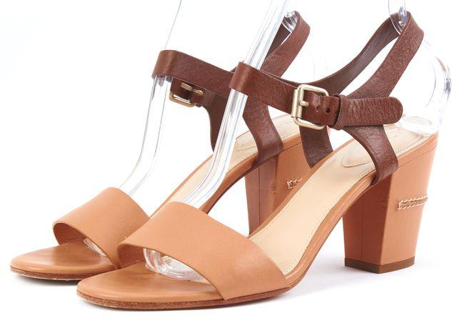 CHLOÉ Tan Brown Leather Sandal Heels