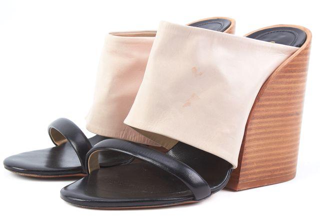 CHLOÉ Beige Black Leather Sandal Block Heel Mules