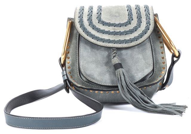 CHLOÉ Light Blue Suede Hudson Mini Satchel Tassle Adjustable Strap Crossbody