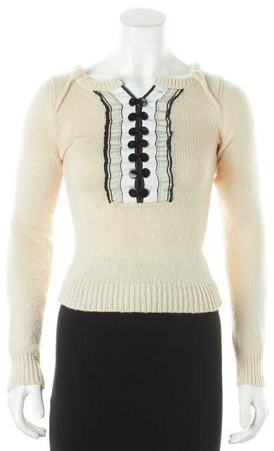 CHLOÉ Ivory Black White Long Sleeve Tuxedo Button panel Crewneck Sweater