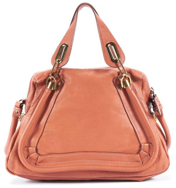 CHLOÉ Suntan Orange Leather Paraty Medium Satchel Bag