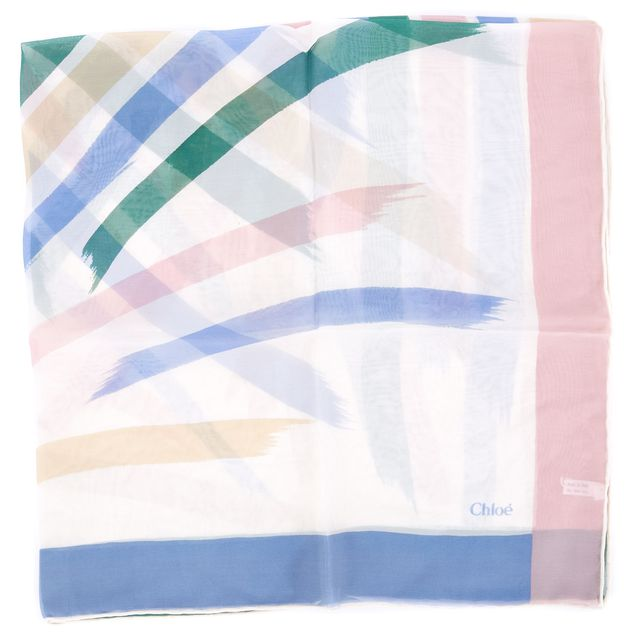 CHLOÉ Ivory Pink Blue Green Yellow Abstract Silk Scarf
