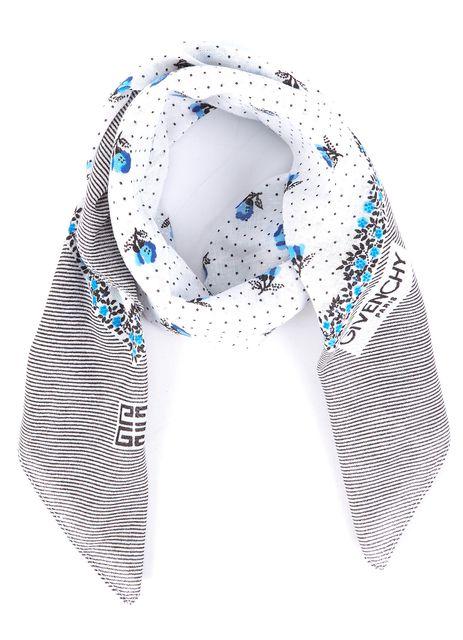 GIVENCHY Ivory Blue Argyle Diamond Striped Detail Silk Scarf