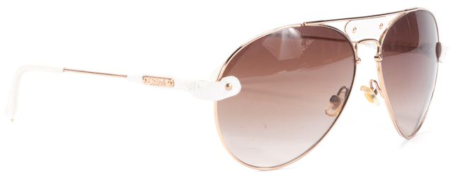 CHLOÉ White Gold Acetate Aviator Sunglasses