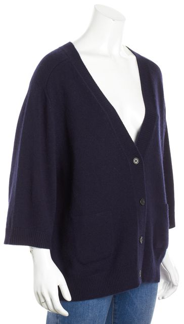 CHLOÉ Dark Navy Blue Cashmere Knit Relaxed Fit Cardigan Sweater