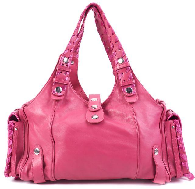 CHLOÉ Watermelon Pink Leather Braided Ribbon Detailed Shoulder Bag Handbag