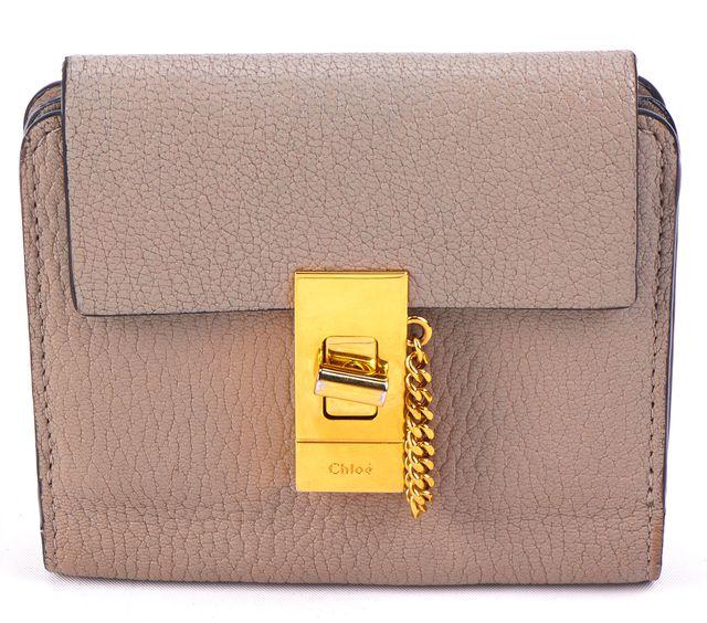 CHLOÉ Gray Pebbled Mini Leather Wallet