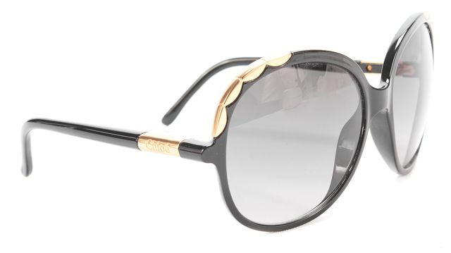 CHLOÉ Black and Gold Corner Trim Round Sunglasses