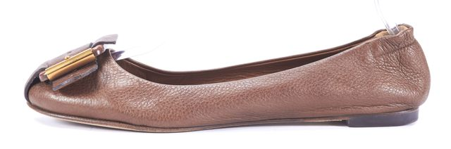 CHLOÉ Brown Leather Buckle Flats