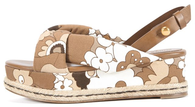 CHLOÉ Tan Mix Floral Espadrille Sandals
