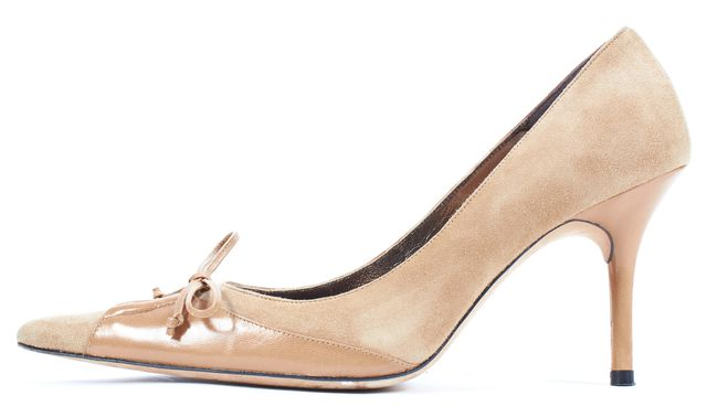 CHRISTIAN LACROIX Beige Suede Leather Trim Pointed Toe Heels