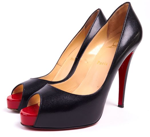 CHRISTIAN LOUBOUTIN Black Leather Peep Toe Platform Heels