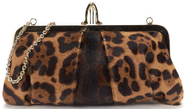 CHRISTIAN LOUBOUTIN Brown Leopard Calf Hair Clutch Bag