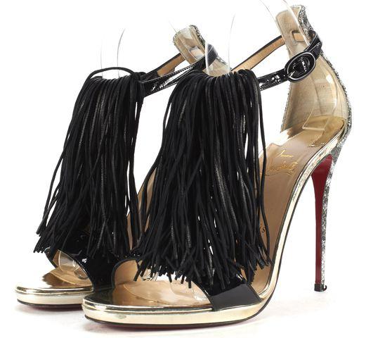 CHRISTIAN LOUBOUTIN Silver Black Leather Fringe Casanovella Sandals