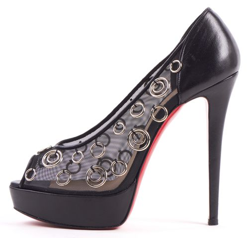 CHRISTIAN LOUBOUTIN Black Silver Embellished Mesh Leather Peep Toe Pumps