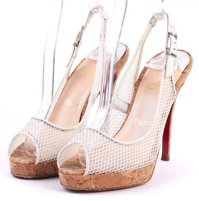 CHRISTIAN LOUBOUTIN White Mesh Cork Mademoiselle Merchand Platform Heels