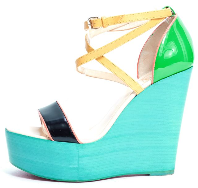 "CHRISTIAN LOUBOUTIN Multi-Color ""Si Ma Zeppa"" 140mm Leather Wedges"
