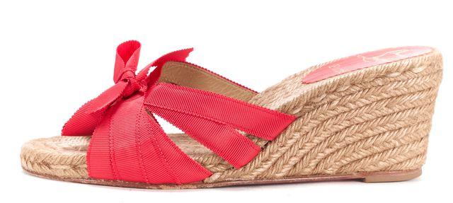 CHRISTIAN LOUBOUTIN Red Grosgrain Jute Slide On Espadrille Wedge Sandals