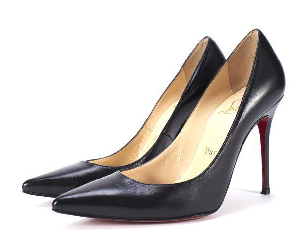 CHRISTIAN LOUBOUTIN Black Leather Decollete 100mm Pump Size 34.5