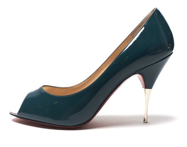 CHRISTIAN LOUBOUTIN Teal Blue Patent Leather Yoyospina 100 Pumps Size 37.5