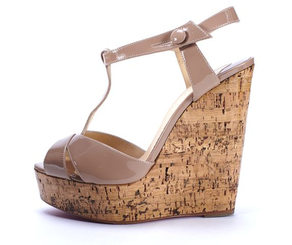 CHRISTIAN LOUBOUTIN Beige Patent Leather Marina 140mm Wedge Sandals Size 37.5