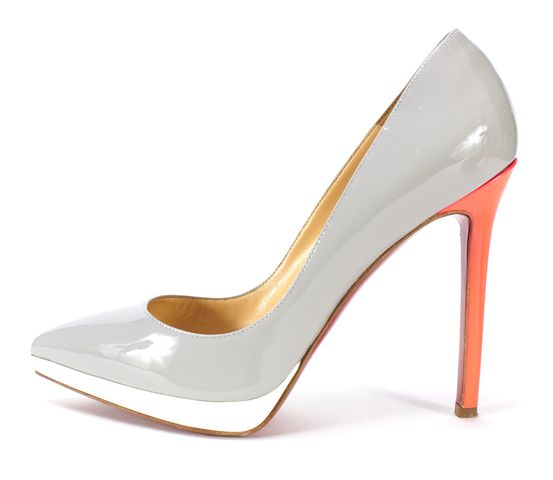 CHRISTIAN LOUBOUTIN Gray Pink Neon Patent Leather Pigalle 120mm Size 37