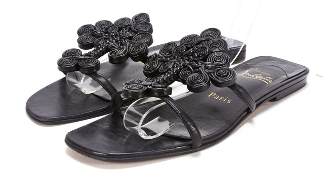 CHRISTIAN LOUBOUTIN Black Leather Braided Leather Slide On Sandals