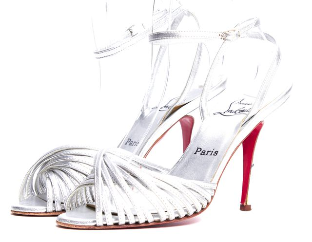 CHRISTIAN LOUBOUTIN Silver Leather Strap Pump Sandals
