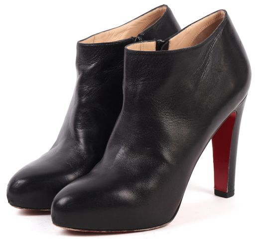CHRISTIAN LOUBOUTIN Black Leather Platform Pointed Toe Ankle Booties