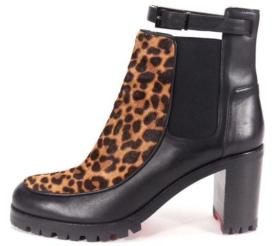CHRISTIAN LOUBOUTIN Black Leopard Calf-Hair Leather Yetata Chelsea Boot
