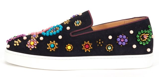 CHRISTIAN LOUBOUTIN Black Embellished Suede Boat Candy Slip-On Sneakers