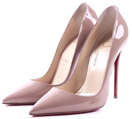 CHRISTIAN LOUBOUTIN Nude Paten Leather So Kate Heels