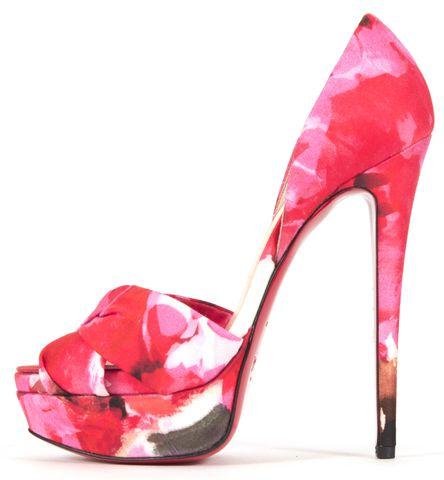 CHRISTIAN LOUBOUTIN Pink Volpi 150 Popi Fabric Platform Heels
