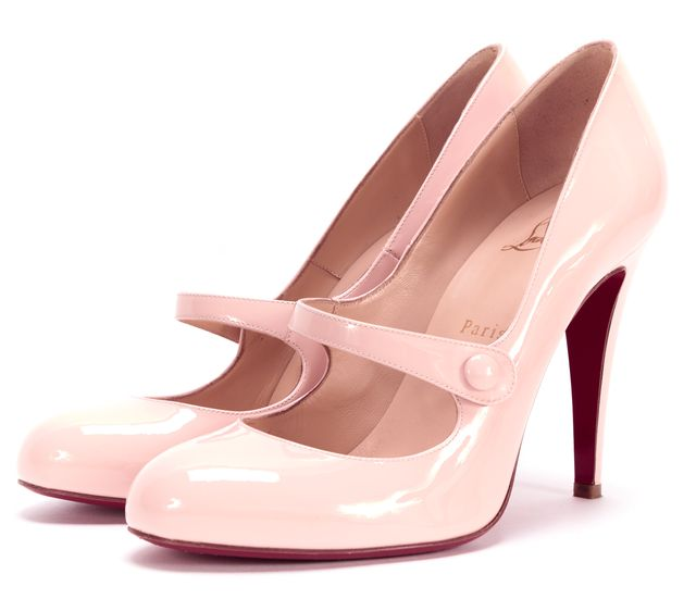 CHRISTIAN LOUBOUTIN Pink Patent Leather Charleen 100m Mary Jane Heels