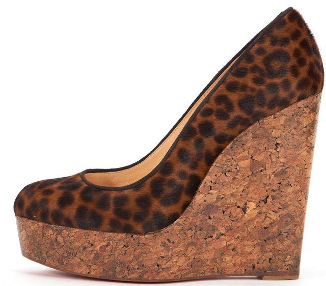 CHRISTIAN LOUBOUTIN Brown Leopard Print Platforms & Wedges