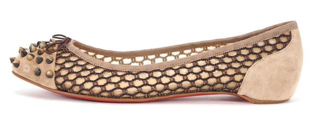 CHRISTIAN LOUBOUTIN Beige Suede Leather Mesh Stud Cap Toe Bow Flats