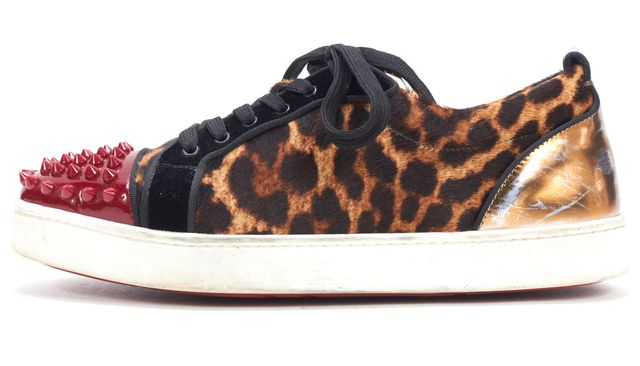 CHRISTIAN LOUBOUTIN Suede Brown Animal Print Spike Cap Toe Sneakers