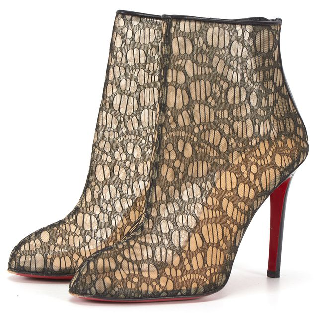CHRISTIAN LOUBOUTIN Black Lace Leather Trim Paola Heeled Ankle Booties