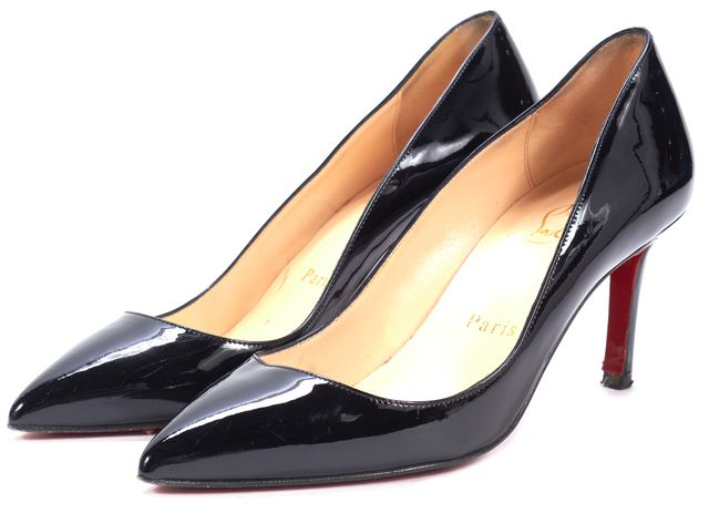 CHRISTIAN LOUBOUTIN Black Patent Leather Pigalle Low Pump Heels