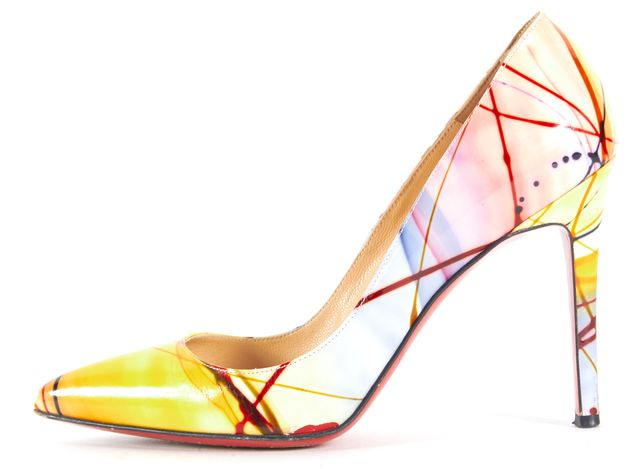 CHRISTIAN LOUBOUTIN Yellow Blue Red Patent Leather Pollock Heels