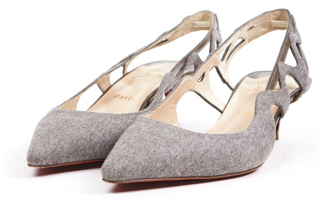 CHRISTIAN LOUBOUTIN Gray Felted Wool Pointed Toe Slingback Kitten Heels