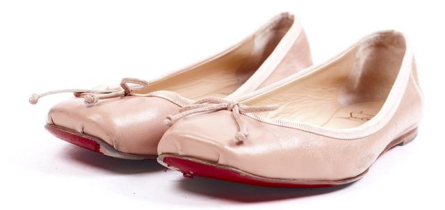CHRISTIAN LOUBOUTIN Pink Leather Rosella Ballet Flats