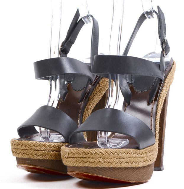 CHRISTIAN LOUBOUTIN Black Leather Espadrille Platform Sandal Heels