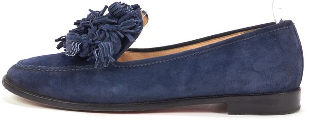 CHRISTIAN LOUBOUTIN Blue Suede Japonaise Flat Loafers