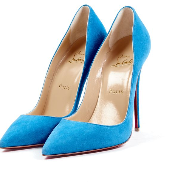 CHRISTIAN LOUBOUTIN Blue Suede Pointed Toe So Kate Heels