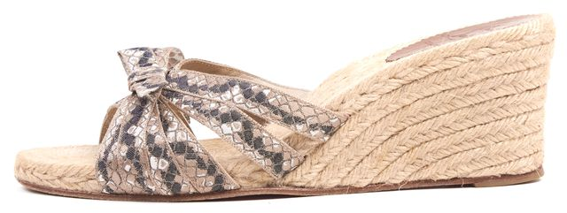 CHRISTIAN LOUBOUTIN Beige Abstract Canvas Espadrille Sandal Wedges
