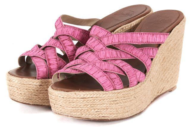 CHRISTIAN LOUBOUTIN Pink Espadrille Slip On Wedges
