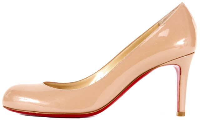 CHRISTIAN LOUBOUTIN Nude Patent Leather Pump Heels