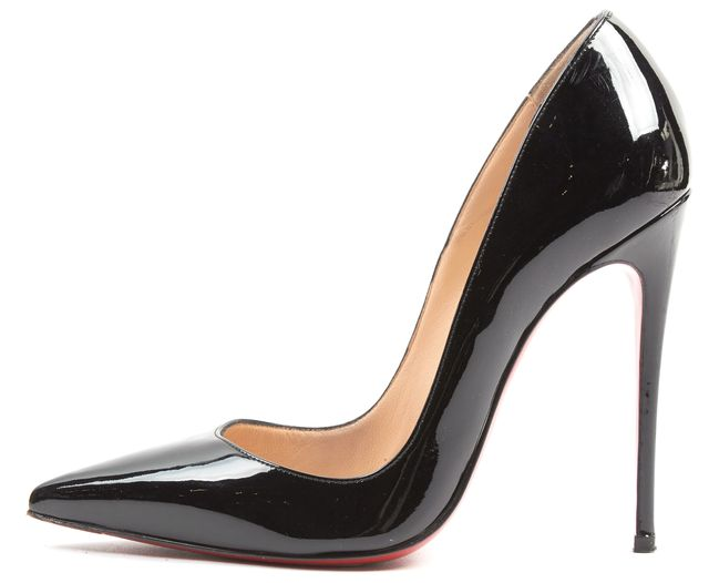 CHRISTIAN LOUBOUTIN Black Patent Leather Pointed Toe Pump